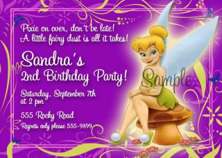 Disneys Tinkerbell Purple Birthday Invitations