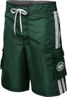New York Jets Green Striped Cargo Swim Trunks