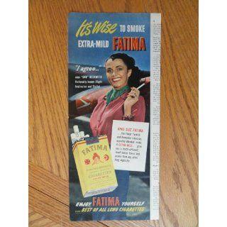 Fatima Cigarettes, Vintage 50s print ad. Color