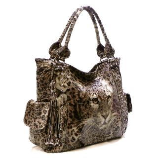 Leopard Animal Print Tassel Carolyn Shoulder Bag Hobo Satchel Tote