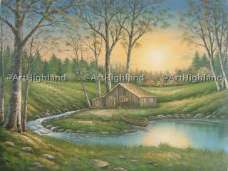 Rural Landscape Oil Paintings Canvas Art Cabin by Lake