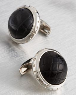 Stefano Ricci Crocodile Cuff Links, Black   Neiman Marcus