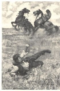 1910 A Illustration Hoskins 2 Indians Cowboy Horses