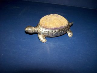 Rare Vintage Figural Silver Metal Turtle Tortoise Pin Cushion Stamped