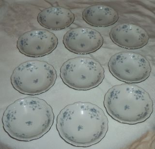 Johann Haviland Bavaria Germany Blue Garland 11 Piece Desert Bowls