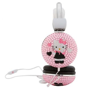 pink jeweled Hello Kitty Headphones W Mic bling headphones iPod,