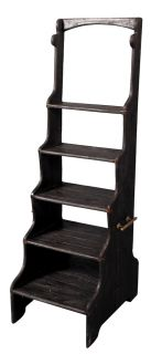 Solid Elm Black Finish Library Step Stool Ladder Stairs Antique
