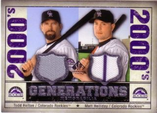 Todd Helton Matt Holliday Colorado Rockies Dual Game Used Jersey Card