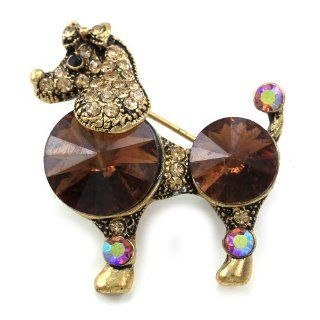 Adorable Antique Vintage Design Brown Poodle Dog Brooch Pin Crystals