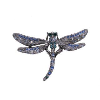 Large Emerald Dragonfly Pin Brooch with Blue Swarovski Crystals
