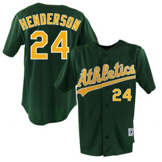 Rickey Henderson Oakland Athletics Alternative Green Sewn Jersey Sz M