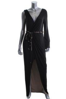 Hoaglund New Black Jersey Tie Waist Faux Wrap Formal Dress Gown 12