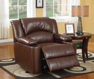 Home Theater Chair Brown Leather Power Recline 2 Cup Holders Media