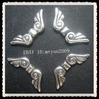 Lots Jewelry Making 100pcs Tibetan Silver Angel Wings Spacer Beads