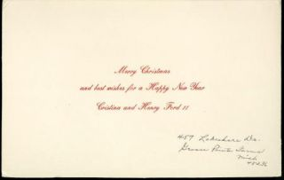 Henry Ford II Vintage Original Christmas Card Xmas to Douglas