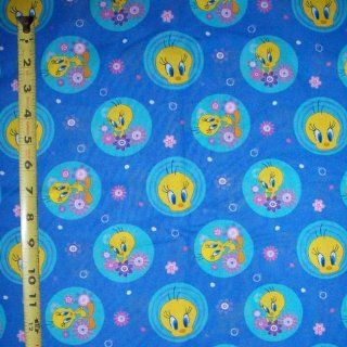 44 X 44 Fabric Looney Tunes Tweety Bird Blue Fabric