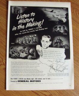 1949 ABC Radio Network Ad Henry J Taylor