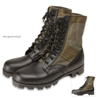 Olive Drab Military Jungle Boots Leather Army Combat
