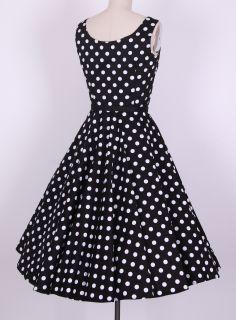 50s Audrey Hepburn Style Black White Dots Dress Size s 4X Pinup