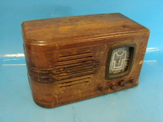 Rare Herbert H Horn MFG Model 83 Eye Tube Radio Art Deco Vtg RARE Wood