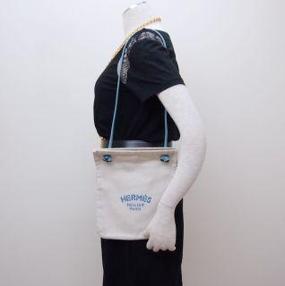 Hermes Aline PM Herringbone Canvas Pouch Calfskin Strap Shoulder