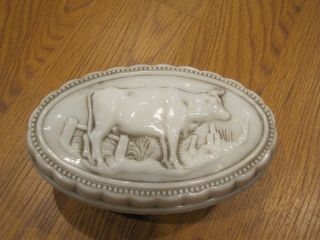 LATE 1800S ANTIQUE MILK GLASS GRAZING COW OVAL BUTTER DISH