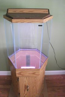 35 Gallon Glass Hexagon Fish Tank Aquarium Terrarium W Lid Light Wood