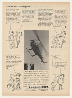1964 US Army Hiller Oh 5A Helicopter Pilot Engineer Ad
