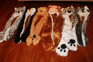 Animal Fox Tiger Monkey Bear Penguin Leopard Plush Winter Hats Fast