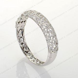 18K White Gold Pave Diamond Filigree Hinged Bangle ALB3470R 1