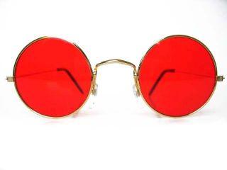 Round John Glasses Hippie Sunglasses 60s Hippie Red
