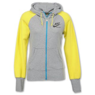 Nike AW77 Team Full Zip Womens Hoodie Grey Heather