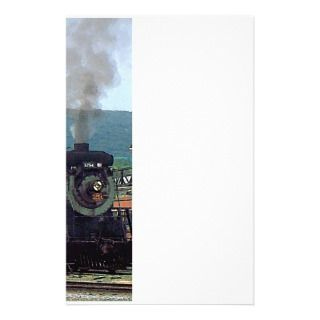 Steam Locomotive 3254 Coming into Train Yard Stationery Design