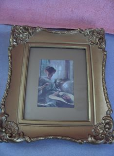 PC Set Vintage Hollywood Regency Gold Ornate Famous Painting