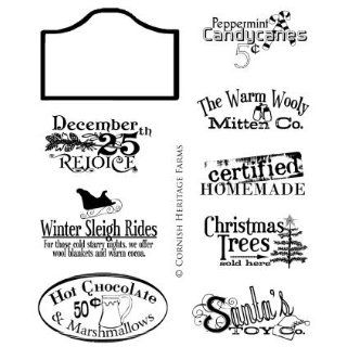 Winter Vintage Signage   Christmas Cling Mounted Red Rubber Stamp Set