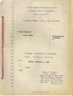 James Jimmy Hoffa Original Attorney Case File Signed Court Documents