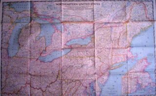 1945 national geographic map of northeastern united states