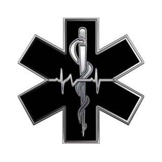 Silver EMT EMS Star Of Life With Heartbeat   6 h