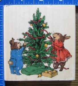 Holly Pond Hill Rubber Stamp Decorating Christmas Tree Bunnies x RARE