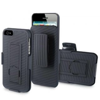 Black Rigid Hard Case Cover w Stand Holster Belt Clip Accessory