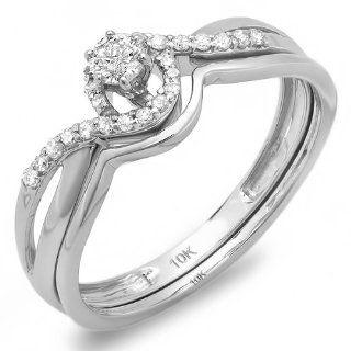 0.25 Carat (ctw) 10k White Gold Round Diamond Ladies Swirl