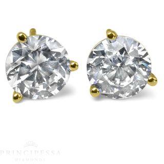 Certified Diamond Stud Earrings 14k White Gold 1 Ct