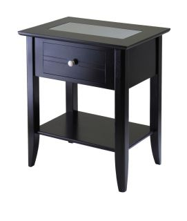 Night Stand End Table w Glass Accent 25 High by Winsome Wood