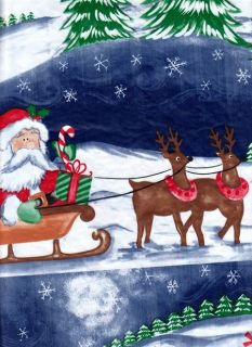 Christmas Vinyl Tablecloth Santa Sleigh Reindeer Toys Trees North Pole