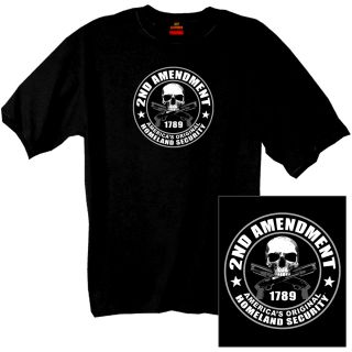 2nd Amendment Americas Original Homeland Security T Shirt New Skull