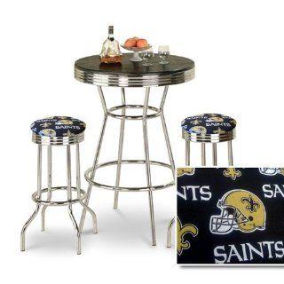 Chrome Bar Table & 2 Chrome Finish New Orleans Saints NFL