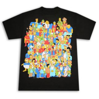 Simpsons Crowd Glowing Homer Black Graphic T Shirt