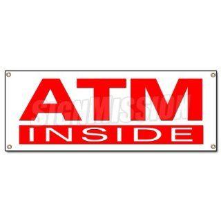 ATM INSIDE BANNER SIGN cash machine money automatic teller
