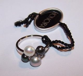 Honora Sterling Pearl Cluster Ring Size 7 Greys Whites