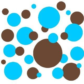 Set of 130 Sky Blue and Brown Polka Dots Circles Wall